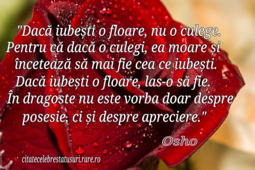 Daca iubesti o floare , nu o culege.